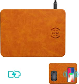Wireless Charging, ZOFINE Mouse Pad Wireless Charger 10W 2 in 1 Mat for Samsung Galaxy S9 S8 S7, 5W for iPhone Xs Max/XR/X/XS/8/8 Plus Qi-Enabled Devices (Light Brown)