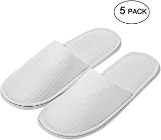 echoapple Waffle Closed Toe White Slippers-Two Size Fit Most Men and Women for Spa, Party Guest, Hotel and Travel (Large, ...