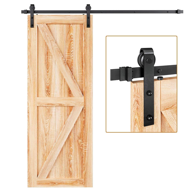 Puerta corredera clásica rústica para granero para una amplia apertura y dos aberturas: Amazon.es: Bricolaje y herramientas