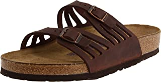 Women's Granada Soft Footbed Leather Narrow Sandal, Black Oiled Leather (40 M EU)