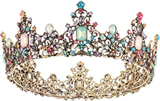 SNOWH Baroque Queen Crowns and Tiaras, Crystal Wedding Crown for Women, Vintage Birthday Tiara, Costume Party Hair Accessories with Gemstones
