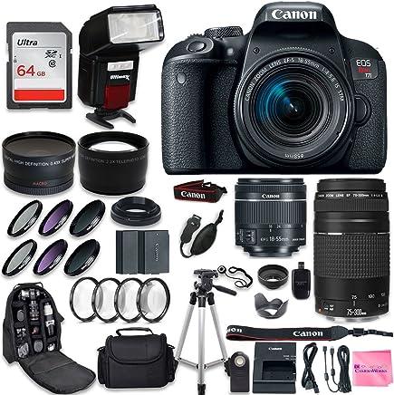 Canon EOS Rebel T7i Cámara DSLR + Canon EF-S 0.709-2.165in + Canon EF 2.953-11.811in Lente + 0.43 Gran Angular & 2.2 Telephoto Lente + Kit de Filtro Macro + 64GB Tarjeta de memoria + Camera Works PRO Pack de accesorios