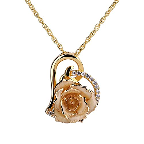 ZJchao 24K Gold Plated Rhinestone Heart Shaped Rose Pendant Necklace for  Women 3b08a872f1