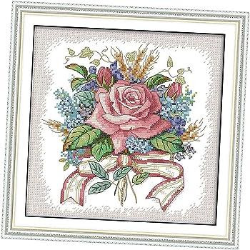 Blumen und Tee Muster Kreuzstich Stickerei DIY Handarbeit Stickpackung Set