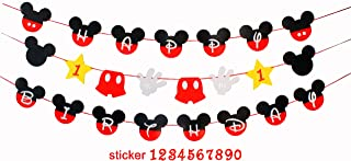 ZOIN Happy Birthday Party Banner for Kid Birthday Mickey theme party Decoration Supplies Kits