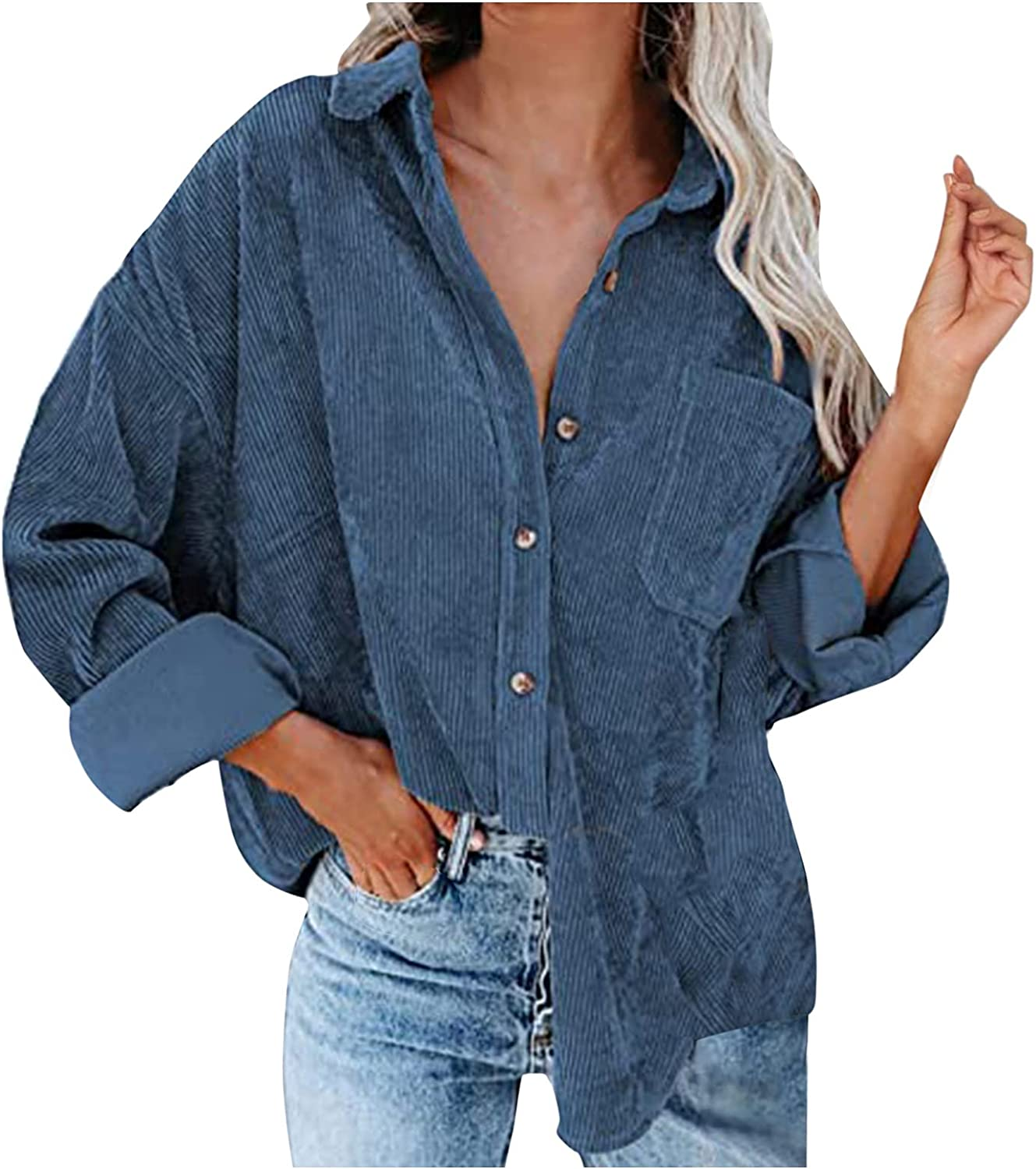 Changeshopping Coat Tops for Women,Autumn and Winter V Neck Long Sleeve Button Casual Blouse Coat Tops