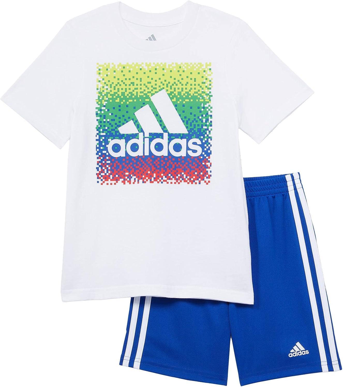 adidas Boy's Graphic Tee & Shorts Set (Toddler/Little Kids/Big Kids)