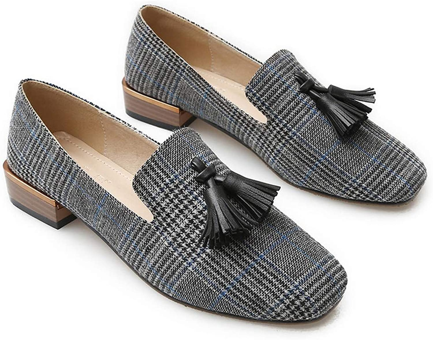 T-JULY Fringe Loafers for Girls Fashion Gingham Flats shoes Women Slip-on Soft Canvas Lazy shoes Designer Flats Luxury