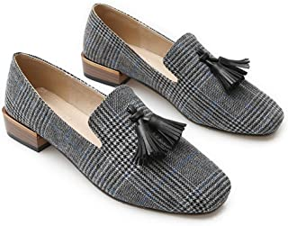 Fringe Loafers for Girls Fashion Gingham Flats Shoes Women Slip-on Soft Canvas Lazy Shoes