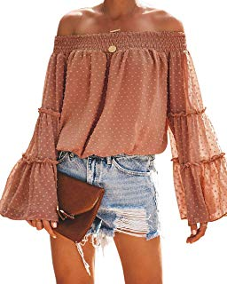 Women Off Shoulder Tops Polka Dot Chiffon Casual Loose Blouse Bell Sleeve(S,Brick Red)