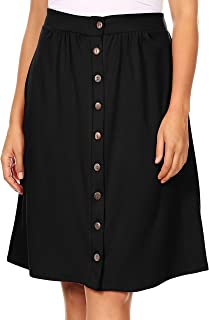 Womens Button Down Knee Length Regular and Plus Size A-Line Skirt with Pockets - Made in USA