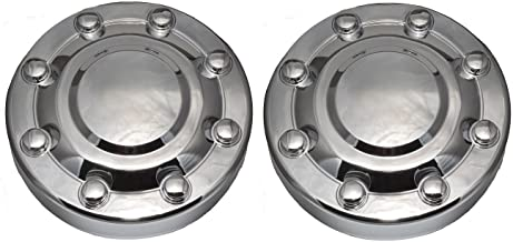 BB Auto Pair of 2 New Front Wheel Hub Chrome Center Caps Replacement for 2000-2002 Dodge Ram 3500 1-TON Dually DRW