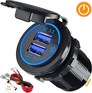 Quick Charge 3.0 Dual USB Car Charger Socket with Touch Switch 12V/24V 36W QC3.0 Dual USB Fast Charger Socket Power Outlet for Marine, Boat, Motorcycle, Truck, Golf Cart