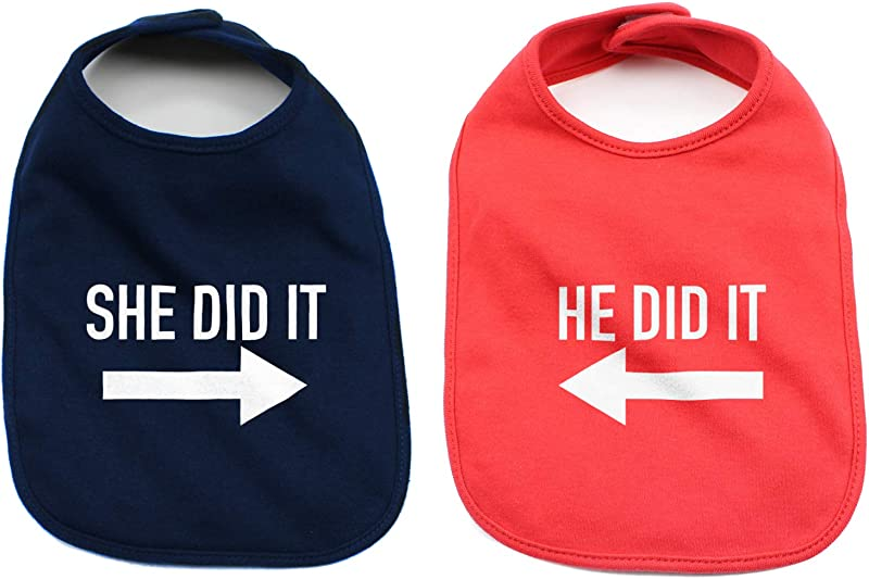 He Did It She Did It Arrow Twin Set 100 Cotton Baby Bibs Navy Blue Red