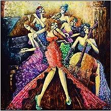 Diopn 5D Pintura Diamante Diy Diamante Bordado Punto De Cruz Resumen Chica Banda Música Ronda Rhinestone Mosaico Costura(Diamante Redondo 40 * 50)