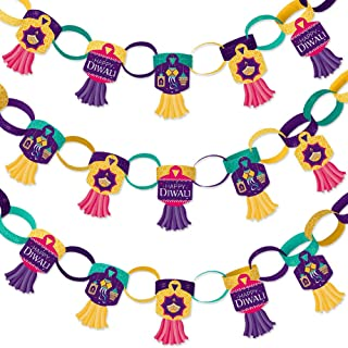 Big Dot of Happiness Happy Diwali - 90 Chain Links and 30 Paper Tassels Decoration Kit - Festival of Lights Party Paper Chains Garland - 21 feet