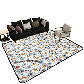 Flower,Anti-Slip Outdoor Rugs 80