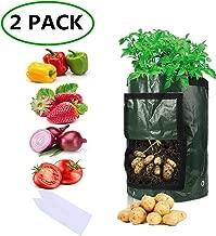 Sfee 2 Pack 7 Gallon Potato Grow Bags, PE Durable Aeration Pots Planters Bag with Handles Access Flap for Garden Farm Vegetable Carrot Onion Tomato Taro Radish Peanut +2 Waterproof Labels