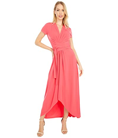 MICHAEL Michael Kors Cap Sleeve Maxi Wrap Dress (Geranium) Women