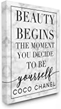 The Stupell Home Décor Collection Beauty Begins Once You Decide to Be Yourself White Marble Typography Canvas Wall Art, 16...
