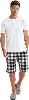 Regular Fit Kare Desenli Şort ve Tişört Pijama Takımı