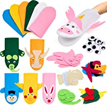 Tacobear Kids Craft and Art Aupplies Hand Puppet Making Kit Felt Sock Puppet Creative DIY Make Your Own Puppets Pompoms Wiggle Googly Eyes Storytelling Role Play Party Supplies for Girls Boys