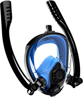 Aven Snorkel Mask Full Face K2 Free Breathing Backstroke Swimming [Double Tubes] 180° Panoramic View Easy Breath Anti-Fog Anti-Leak with Camera Mount