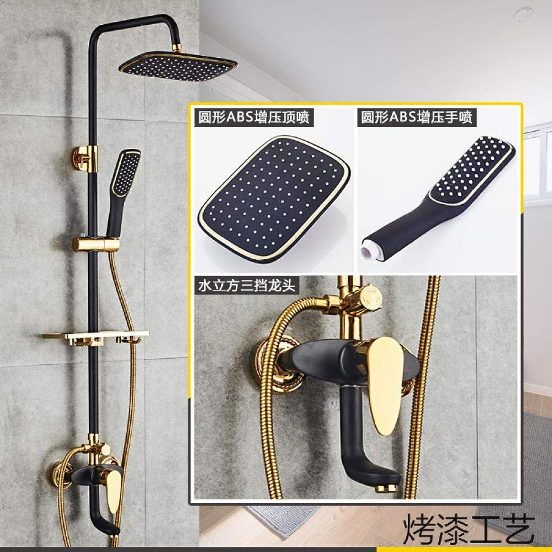 Dusche Europische schwarzGoldene Dusche nach Hause Kupfer hei und kalt Bad Bad Dusche @ Flying Drei-Stopp-Rundrohr
