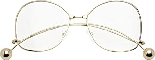 Large Swan Drop Temple Accent Ball Tip Flat Clear Color Transparent Lens Butterfly Eye Glasses