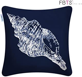 FBTS Prime 100% Cotton Throw Pillow Covers 18 x 18 Inches Navy Marine Organism Conch Decorative Square Cushion Covers Pillow Sham for Couch Bed Sofa Indoor Furniture