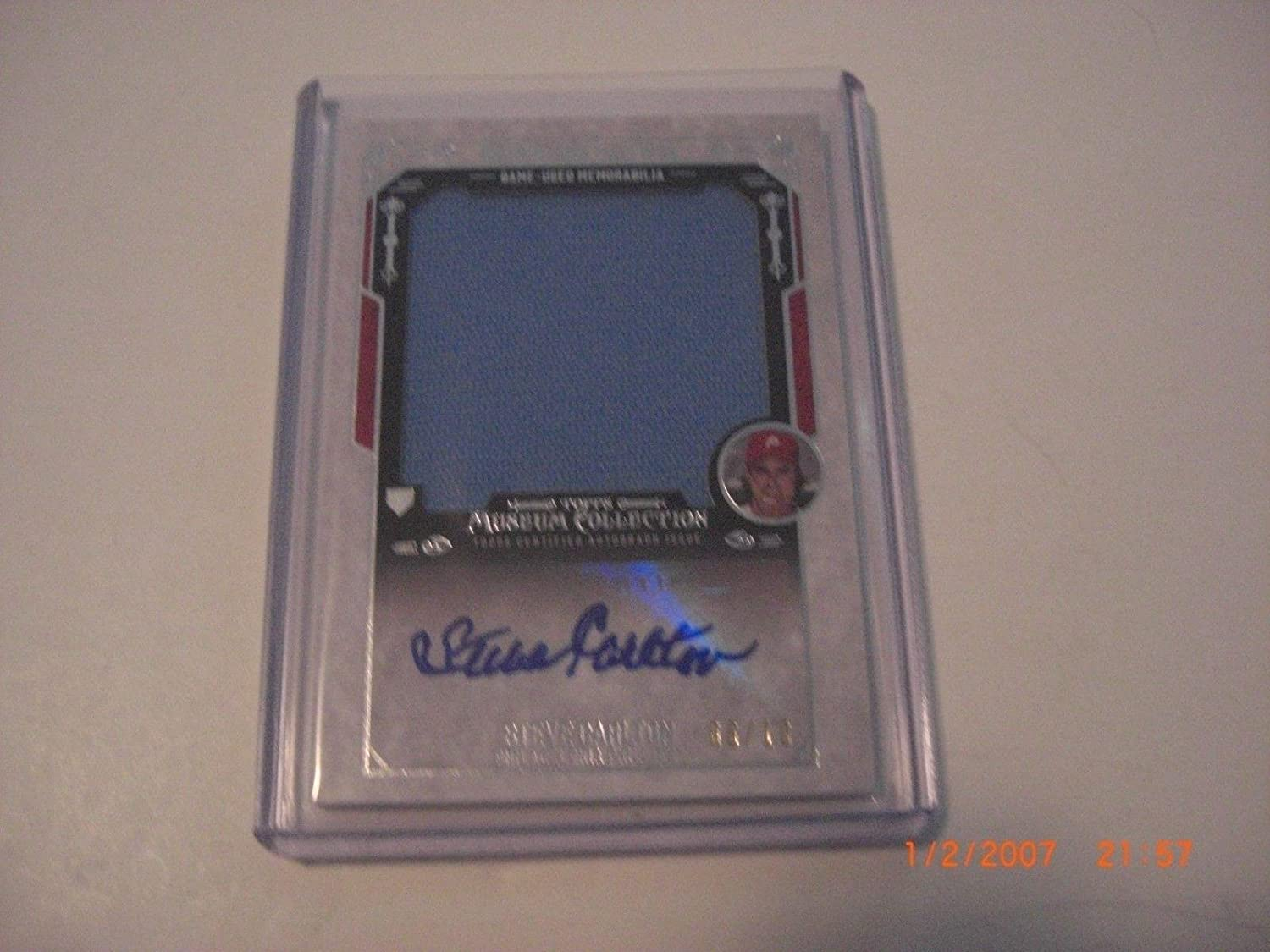 Steve Carlton Phillies 2015 Topps Jumbo Game Used Jersey Auto 6 10 Signed Card  Baseball Slabbed Autographed Cards