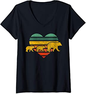 Womens Mama Bear Two Cubs Retro Heart Mothers Day Gift Mom V-Neck T-Shirt
