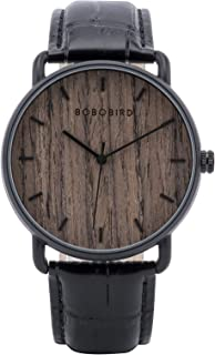 BOBO BIRD Mens Wooden Stainless Steel Luxury Brand Quartz Wristwatches Leather Strap Male Clock Simple Watch for Father's Day