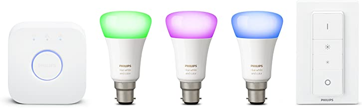 Philips Hue White and Colour Ambiance Starter Kit: Smart Bulb 3X Pack LED [B22 Bayonet Cap] Including Dimmer Switch and Br...