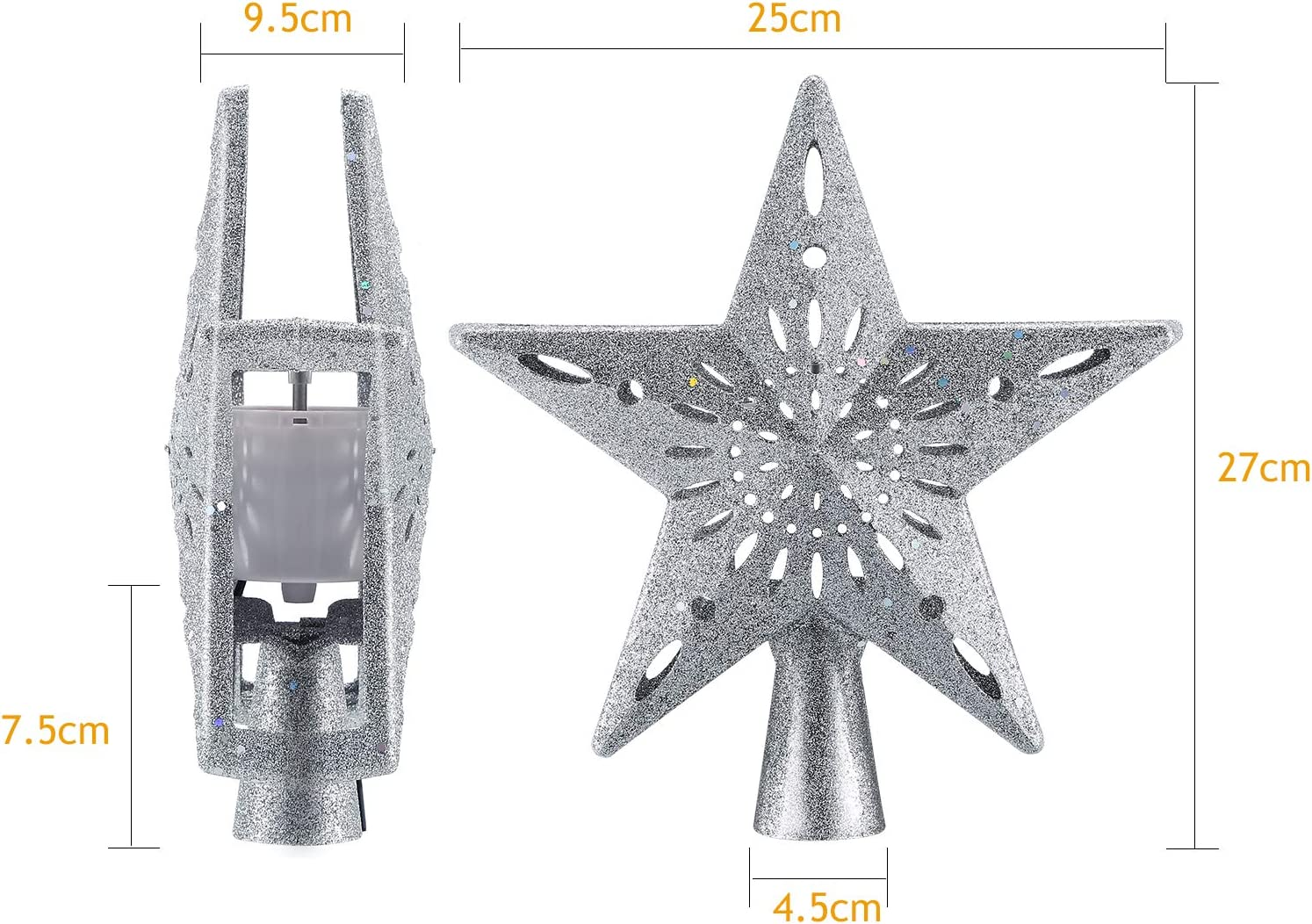 for Christmas Tree Decoration Silver TASI Christmas Tree Star Topper,LED Rotating 3D White Snowflake Projector Lights