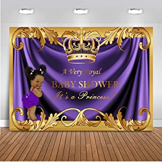 Mehofoto Baby Shower Backdrop Royal Little Princess Purple Crown Photography Background 7x5ft Vinyl Royal Purple Gold Baby Shower Party Banner Backdrops