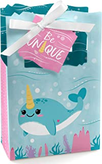 Narwhal Girl - Under The Sea Baby Shower or Birthday Party Favor Boxes - Set of 12