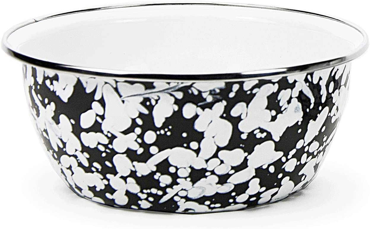 Enamelware - Black Boston Mall Swirl Pattern Cup Bowl Salad Max 84% OFF 3