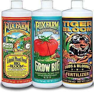 FoxFarm FX14050 Bloom Big، Grow Big & Tiger Bloom Liquid Liquid کودهای مواد مغذی سه گانه هیدرو فرمول ، بطری های 3/32-اونس