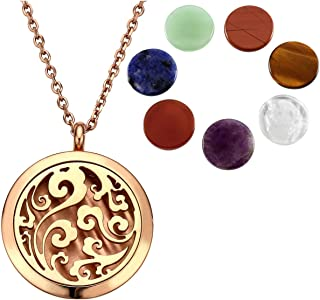 JOVIVI Aromatherapy Essential Oil Diffuser Necklace-Stainless Steel Tree of Life Locket Pendant with 7 Chakra Healing Crystals Stone