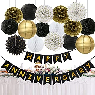 Happy Anniversary Party Decorations Happy Anniversary Banner Tissue Paper Pom Poms Flowers Paper Lanterns Hanging Paper Fa...