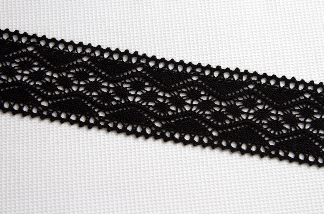Color negro estilo Vintage Vieira/puntilla/zig-zag-polarmk 100 ...