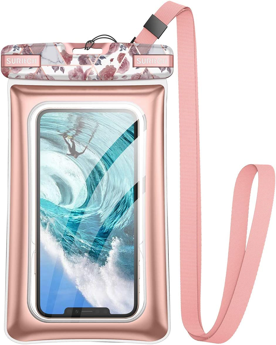 SURITCH New Universal Waterproof Phone Case,Waterproof Phone Bag Floating Phone Pouch for iPhone 12 11 Pro Max Mini XR X Xs Max Se 2020 Galaxy Note 20 S20 Ultra S10 S9 Plus Up to 6.9 inch-Rose Floral