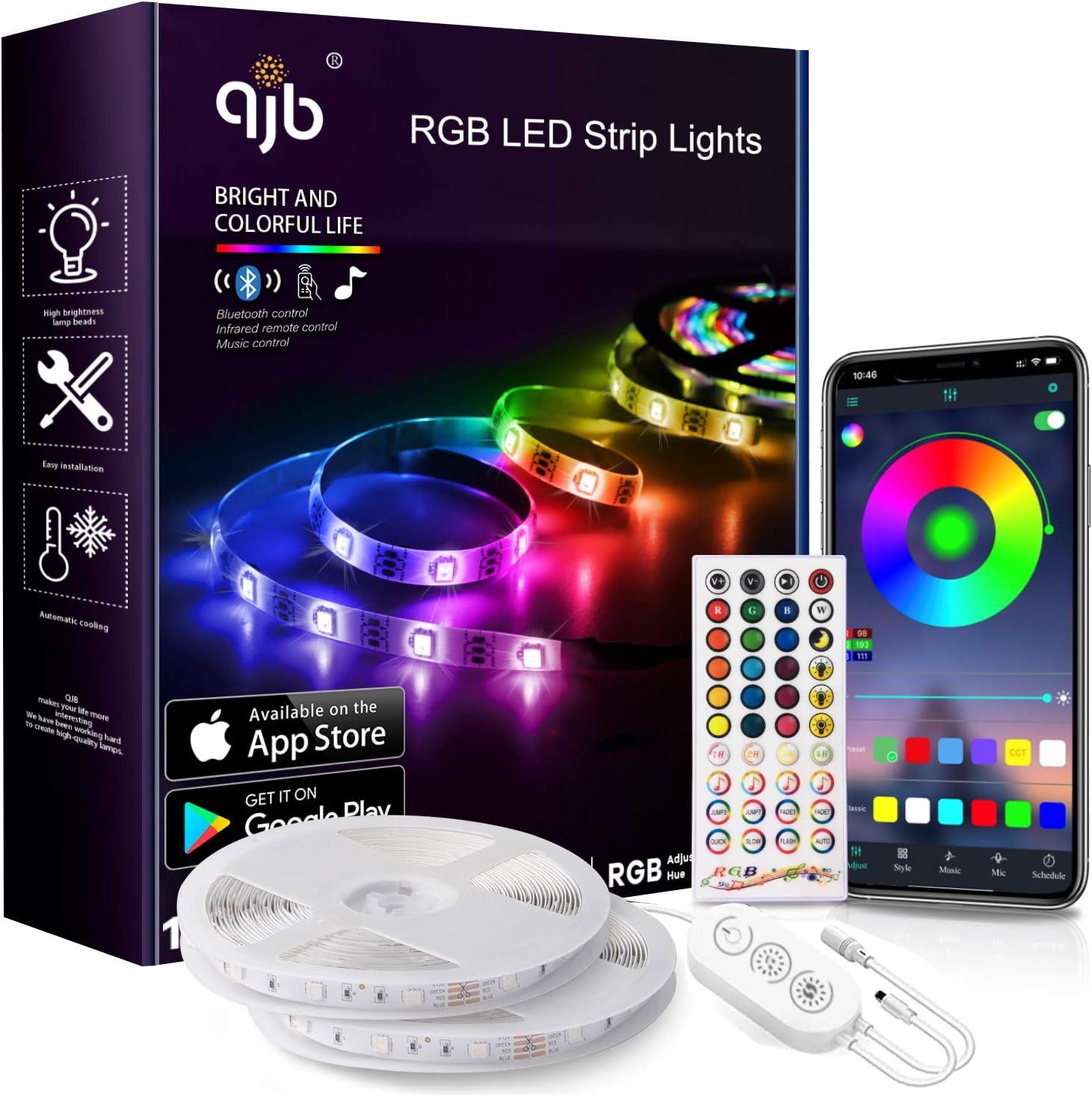 QJB 65.6Ft Led Strip Lights Bluetooth Sync - RGB Price reduction 5050 Music 2021new shipping free