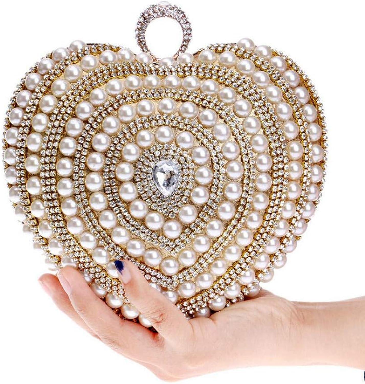 HKDUC HKDUC HKDUC Herzform Abendtaschen Perlen Perlen Gold Schwarz Clutch Bag Handgemachte Braut Geldbörse Brieftaschen Party Geldbörse Handtaschen B07PG5TFFB 78b66f