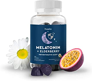 Melatonin Gummies with Elderberry, 60 Gummies (30 Day Supply): 4mg of Melatonin, Organic Elderberry for Immunity Support, ...