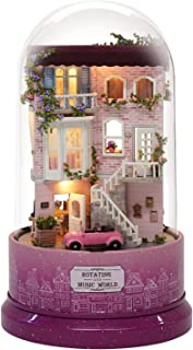 Spilay DIY Miniature Dollhouse Wooden Furniture Kit,Handmade Mini Rotating and Music World Model with Glass Cover & Music ...
