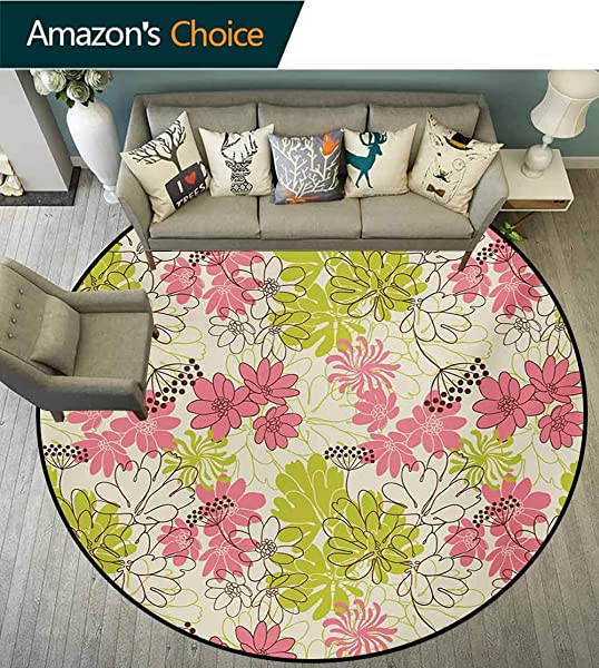 Floral Modern Machine Washable Round Bath Mat Hand Drawn Pastel Petals In Vivid Contrast Nature Tone Blooming Image Non Slip Living Room Soft Floor Mat Round 31 Inch Eggshell Pink Apple Green