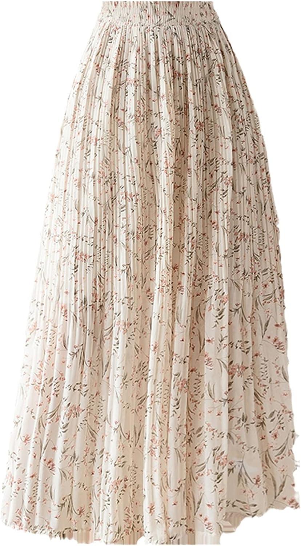 SummerVintage Floral Print Chiffon Pleated Skirt Elastic High Waist Casual Midi Skirt for Women