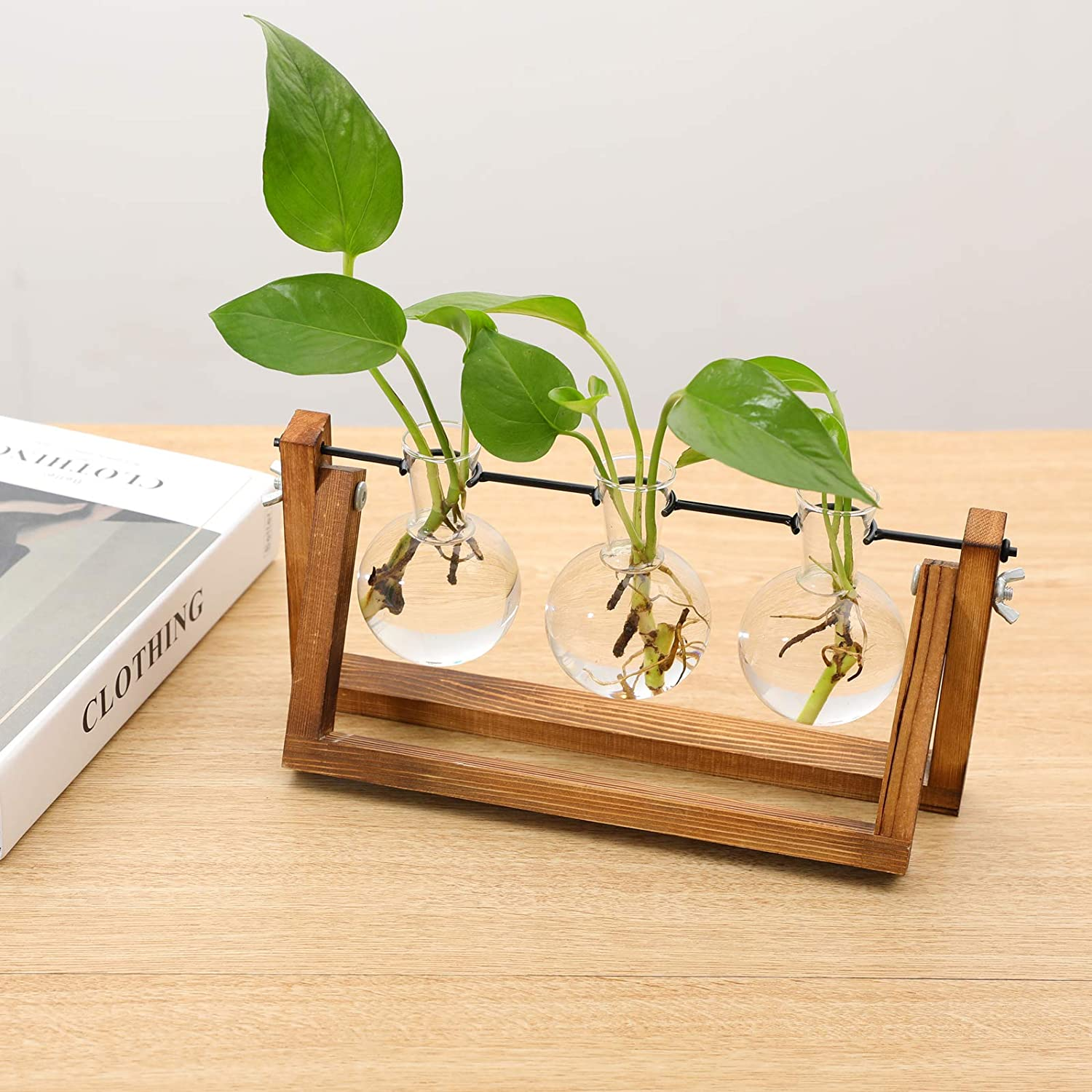 Gifts for Her 1 Bulb Vase Small Plants Terrarium Vintage Home Accessories Desk Plant Glass Bulb Vases with Wooden Stand Propagation Station for Hydroponics